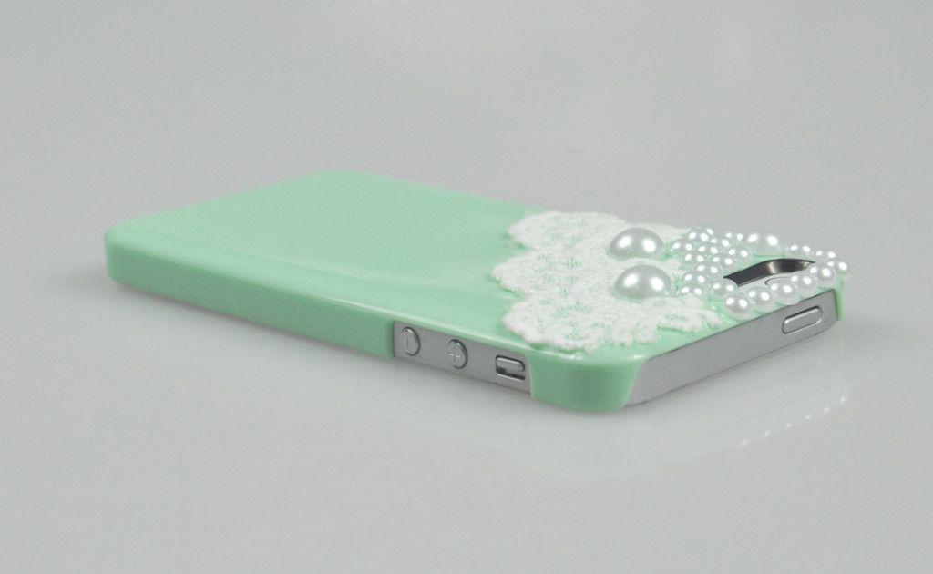 Girl Pearl Lace Hard Case Cover for iPhone 5 5g Light Green