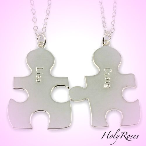 925 Sterling Silver Couples His Hers Puzzle Pieces Pendant Free