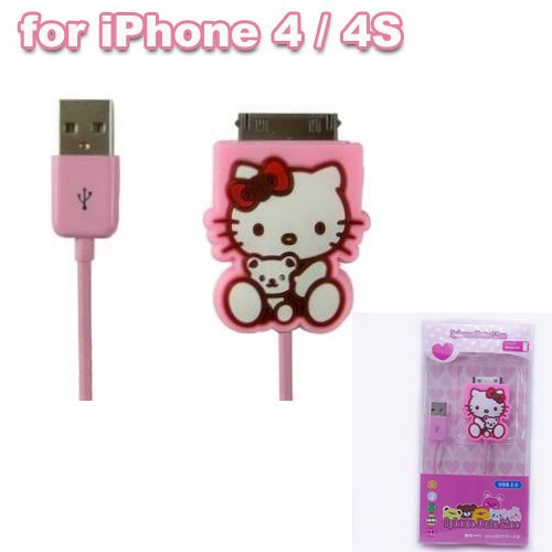 New Pink Cartoon Hello Kitty USB Data Line Charging Cable For iPod