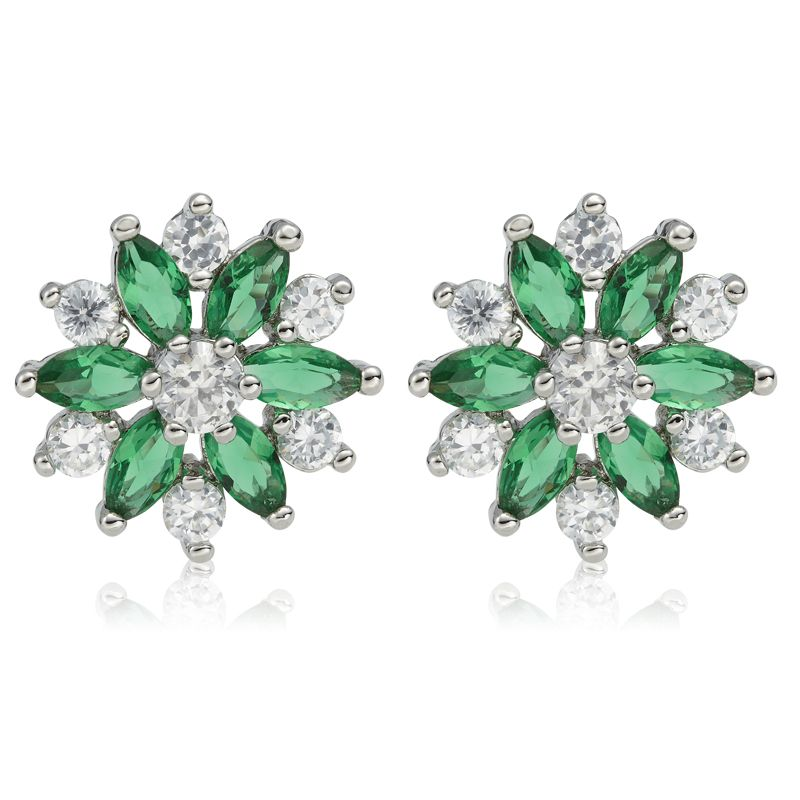 HOT FASHION JEWELRY GREEN EMERALD MARQUISE CUT 18K WHITE GOLD PLATED