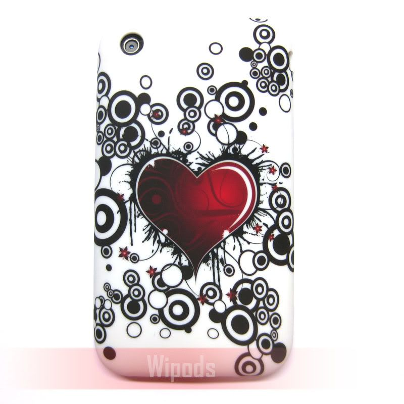 Red Heart Bubbles Silicone Soft Case Cover Skin for Apple iPhone 3GS