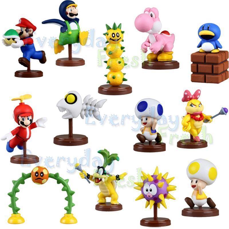 2011 Super Mario Bros Yoshi Pokey Iggy Koopa 13pcs Figure Set
