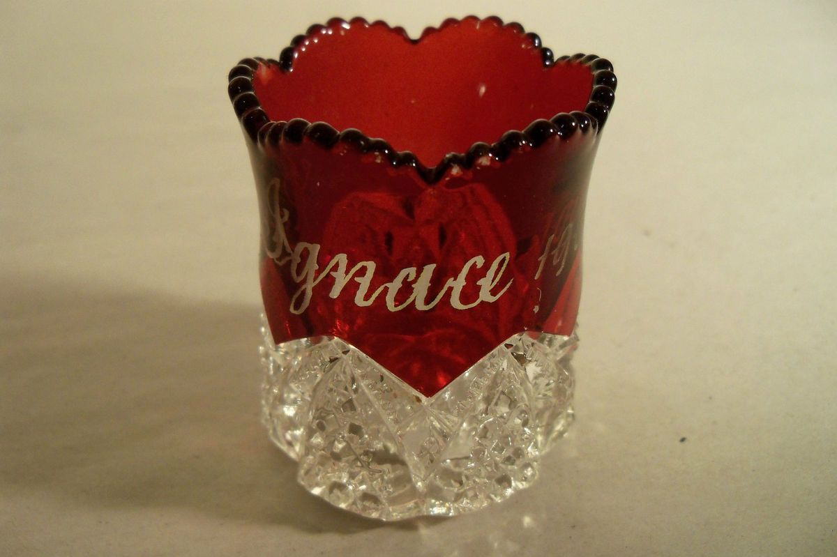 Ruby Flash Crystal Toothpick Holder St Ignace 1900 Souvenir