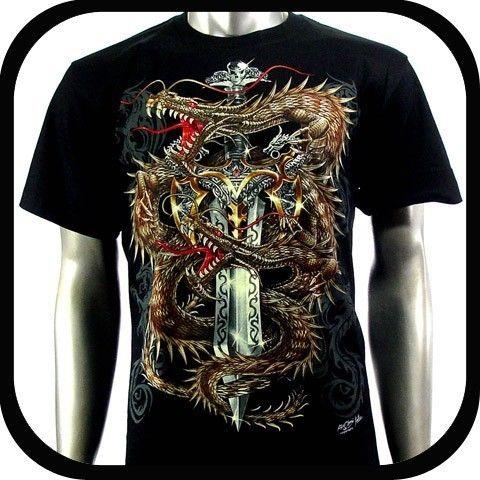 Shirt Biker Punk Tattoo C118 Sz XL Indie Rock Graffiti Dragon