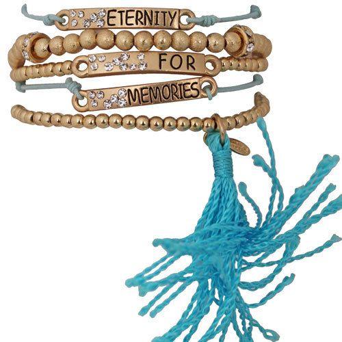 Kirks Folly Inspire Me Set of 5 Stretch Bracelets Goldtone and Aqua