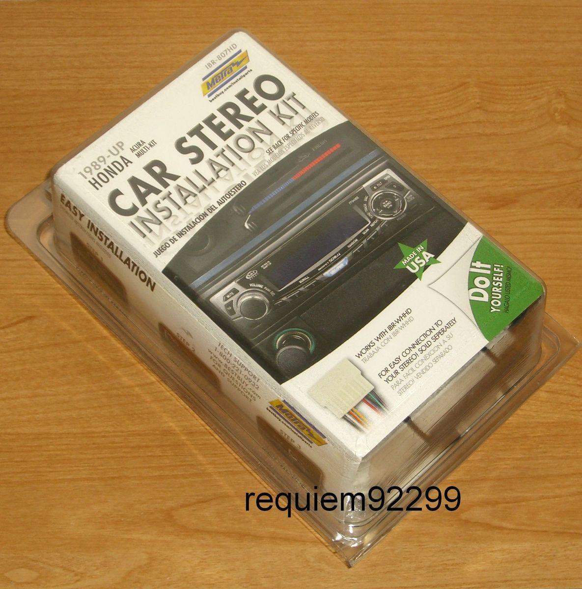 IBR 807HD 1989 UP HONDA ACURA SINGLE DIN CAR STEREO RADIO INSTALL KIT