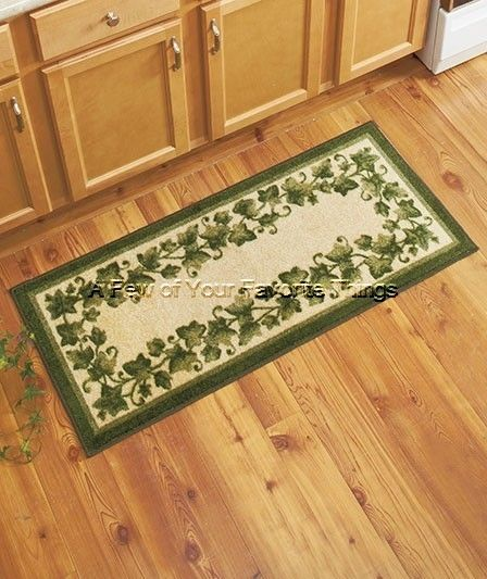 Foyer Rug Vegan : Kitchen runner green ivy plant leaves leaf nonskid