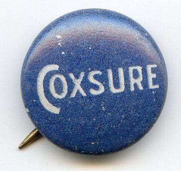 James Cox Coxsure 1920 Pin Pinback Button FDR Running Mate