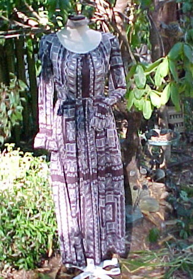 Vtg Lord Taylor John Meyer Oh So Hippie Bo HO Dress Size 10 Brown White