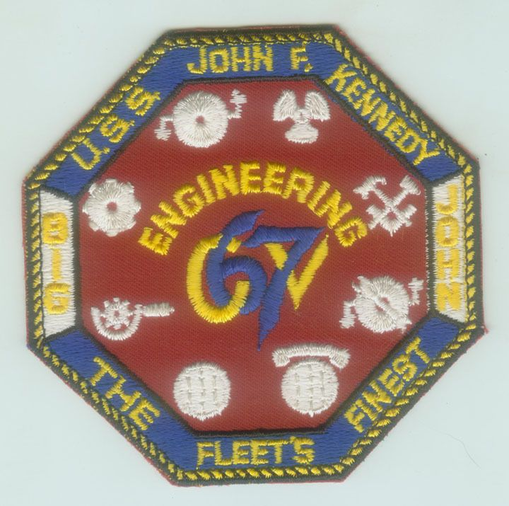 Early 1970s US Navy USS John F Kennedy CV 67 Engineering Division Patch |