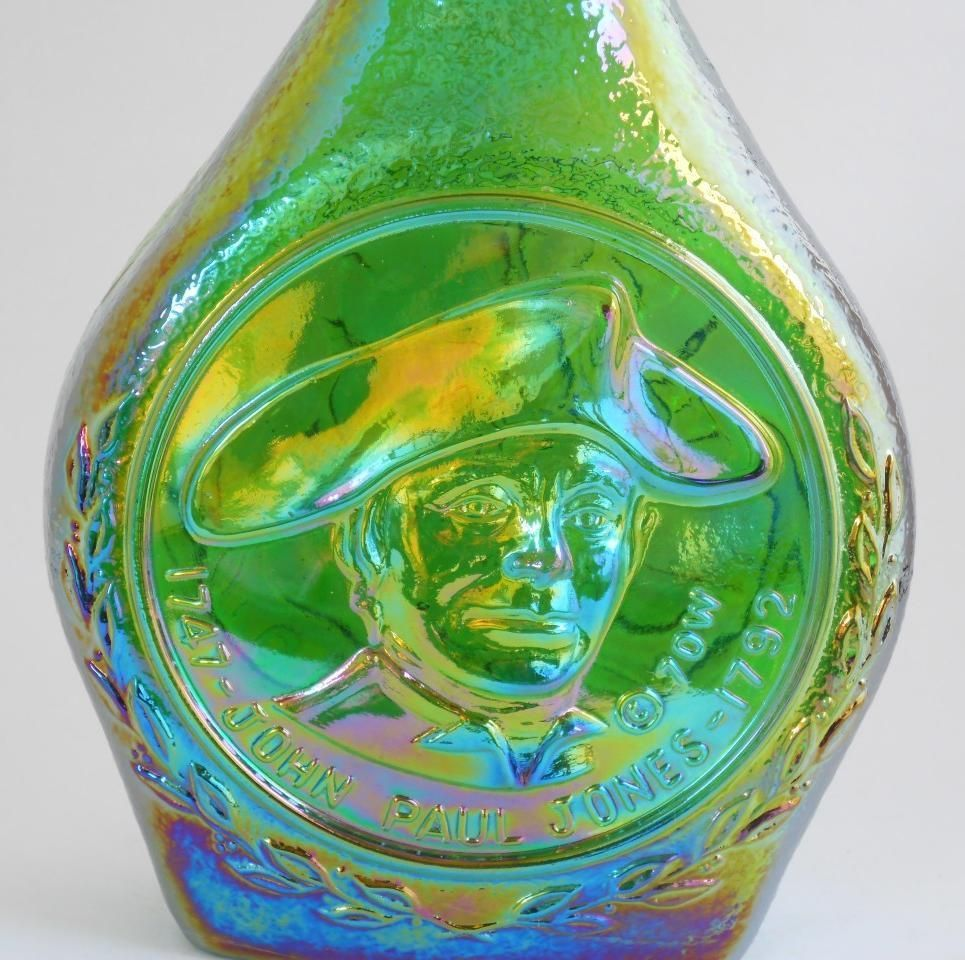 Wheaton John Paul Jones Green Carnival Glass Decanter Bottle Jar