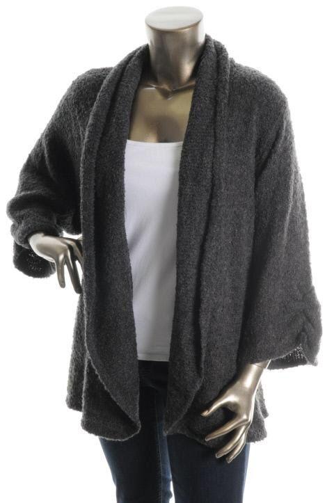Karen Scott NEW Gray Boucle Three Quarter Sleeve Cardigan Sweater Plus