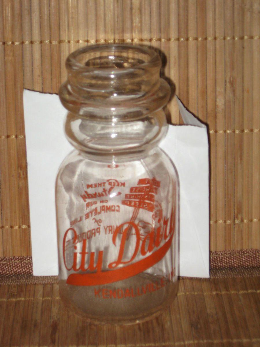 DAIRY Half Pint GLASS MILK JAR Kendallville Indiana NEAT LOGO RARE