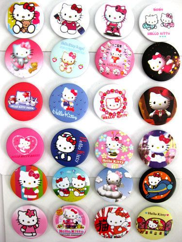 Kitty Button Pin Badges Kids Party Bag Fillers Toys Collection