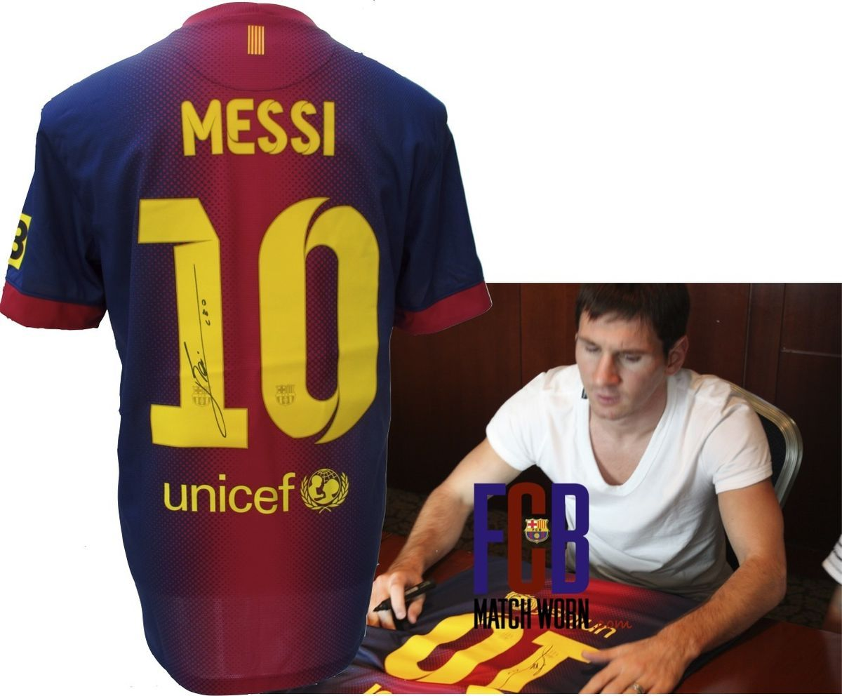 1bff3a1ab4f lionel messi barcelona signed 2013 home shirt from official signing