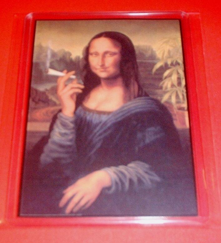 Mona Lisa Smoking a Joint Fattie Pot Marijuana Ganja Weed Stoned