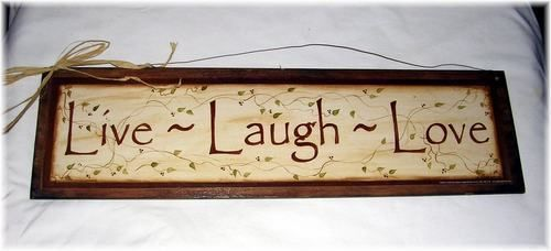 Live laugh Love ivy vine wooden Wall Art Sign country Home decor wood