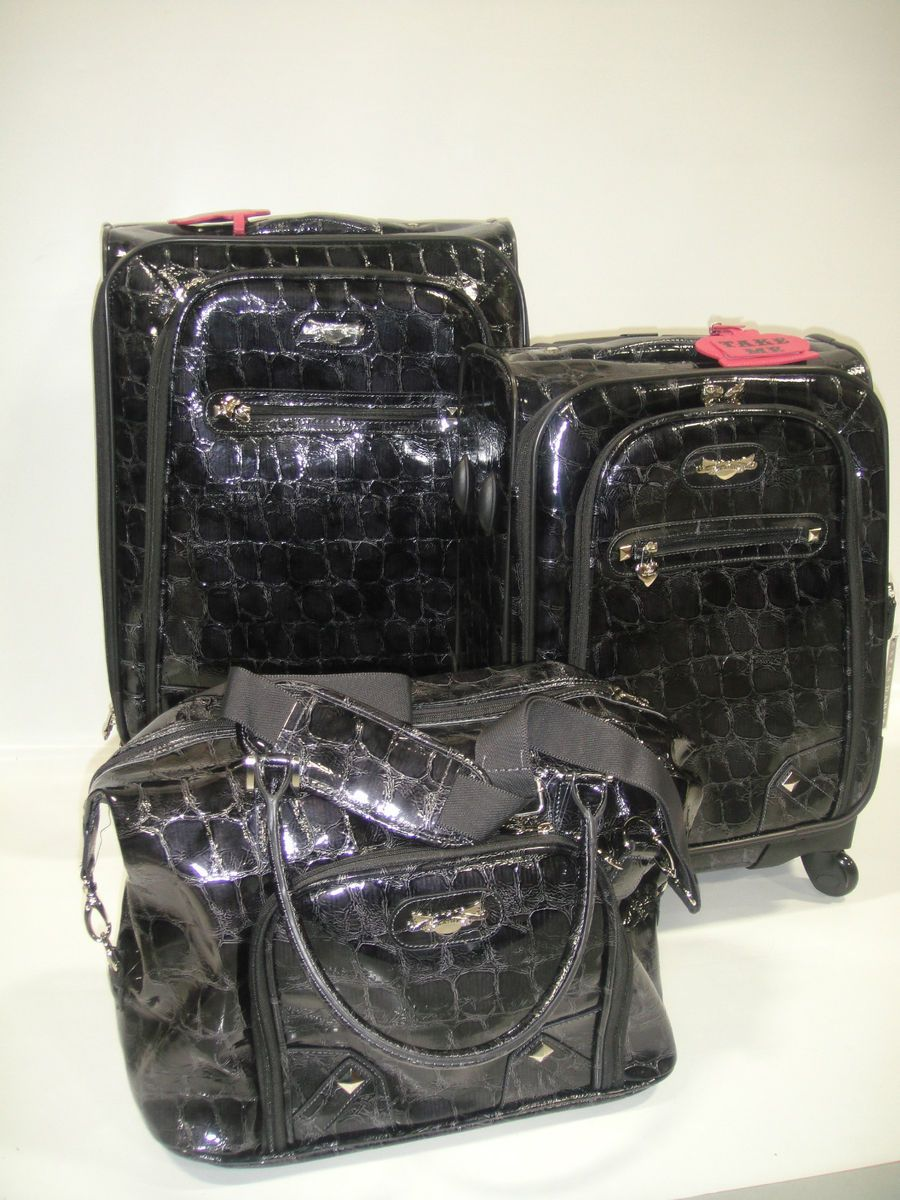 KATHY VAN ZEELAND GRAY CROC DELICIOUS 3 PC EXPANDABLE SPINNER LUGGAGE
