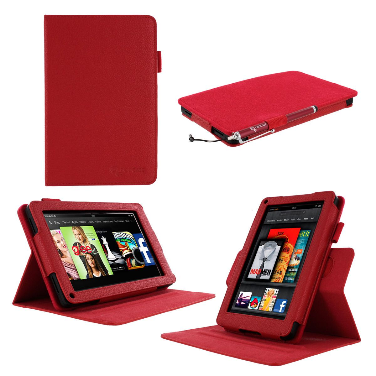 Leather Folio Case Cover for  Kindle Fire 7 inch Tablet