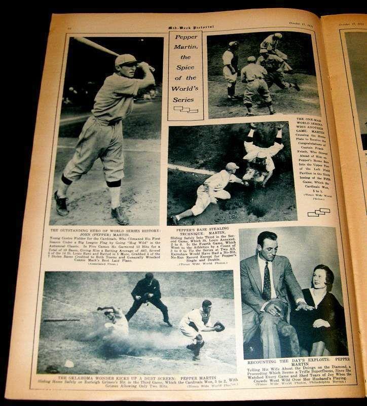 ST LOUIS CARDINALS 1931 PEPPER MARTIN WORLD SERIES MVP BASEBALL