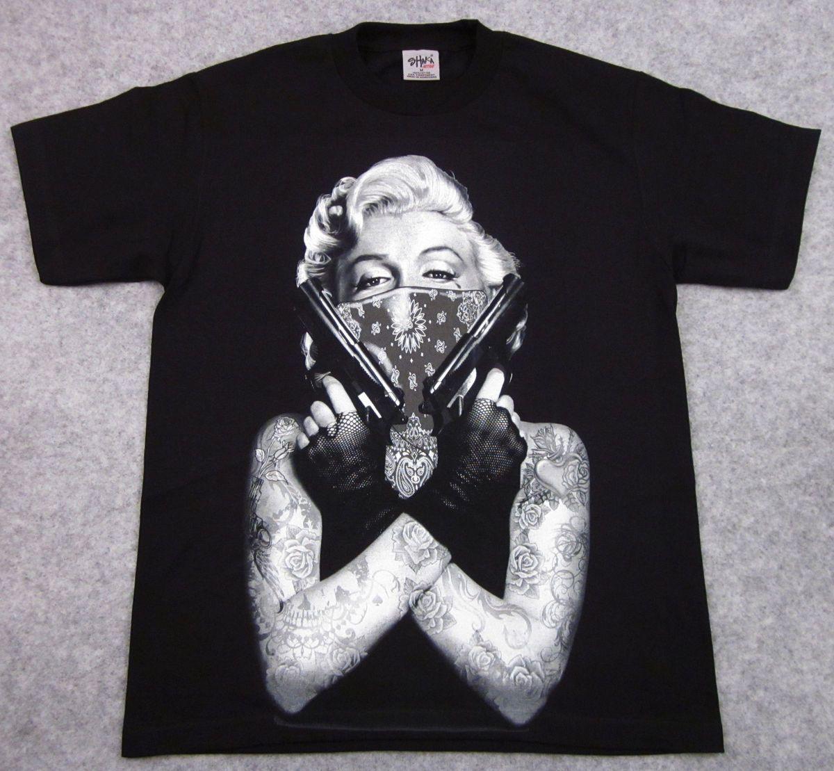 Marilyn Monroe T Shirt Tattoo Bandit Tee Guns Bandana Adult M L XL 2XL