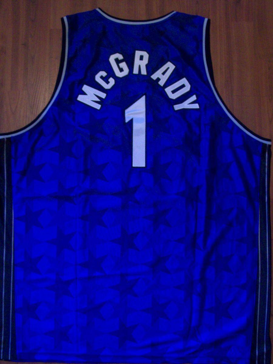 Vintage Reebok Tracy McGrady Orlando Magic Blue Stars Throwback Jersey