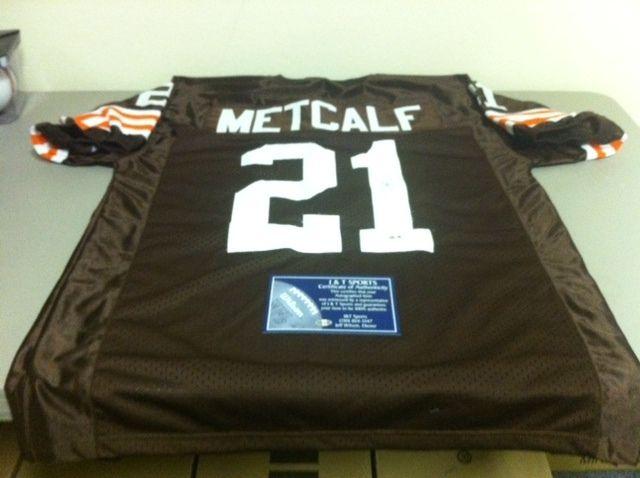 Eric Metcalf Autographed Cleveland Browns Football Jersey Hologram COA