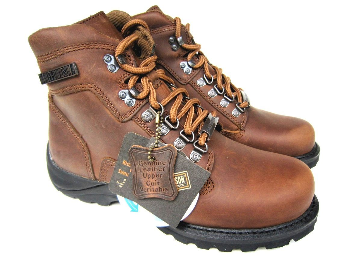 Harley Davidson Virgo Brown Leather Mens Motorcycle Boots