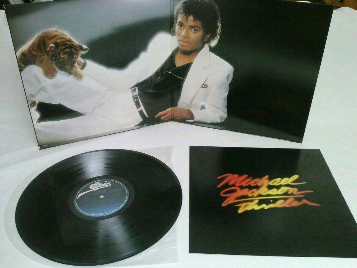 Vintage Michael Jackson Record Album Thriller 1982 with Poster