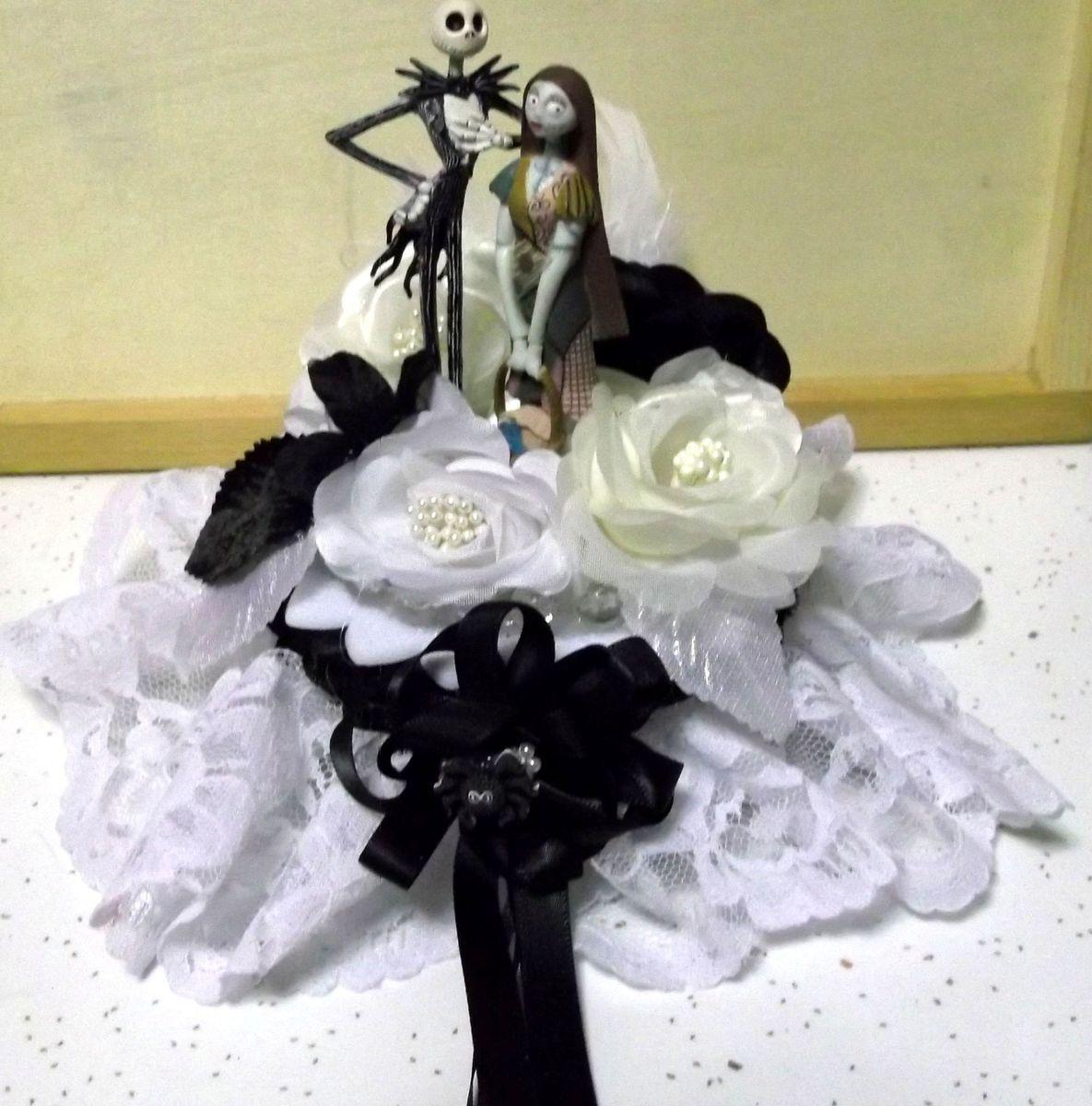 black cream white nightmare before christmas wedding cake topper jack