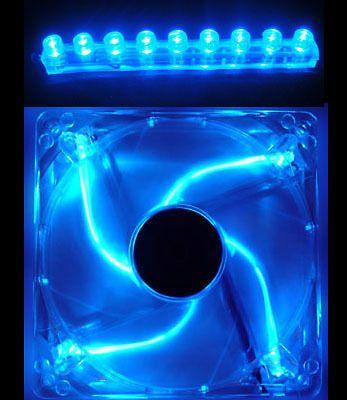 80mm BLUE Quad 4 LED Light Computer Case PC Fan w/ 9 LED 4pin MOD Kit