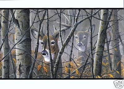 DEER IN THE MIST AND TREES WALLPAPER BORDER LD3300BD