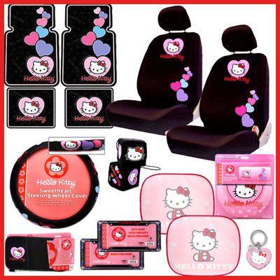Hello Kitty Car Seat Cover Auto Accessories Set Low Bak