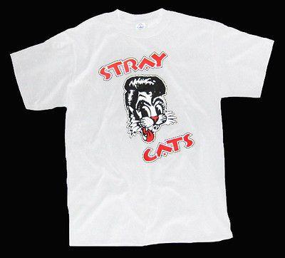 Stray Cats Brian Setzer Rockabilly T Shirt WHITE