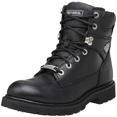 Harley Davidson Motorcycle Boots Black Leather Mens Side Zipper SIZES