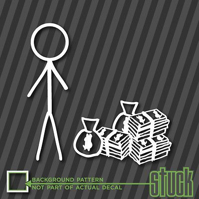 Stick Figure Single MALE with MONEY   Vinyl Decal Sticker Funny Family