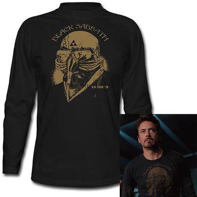 BLACK SABBATH Iron Man Tony Stark The Avengers Mens Black T Shirt