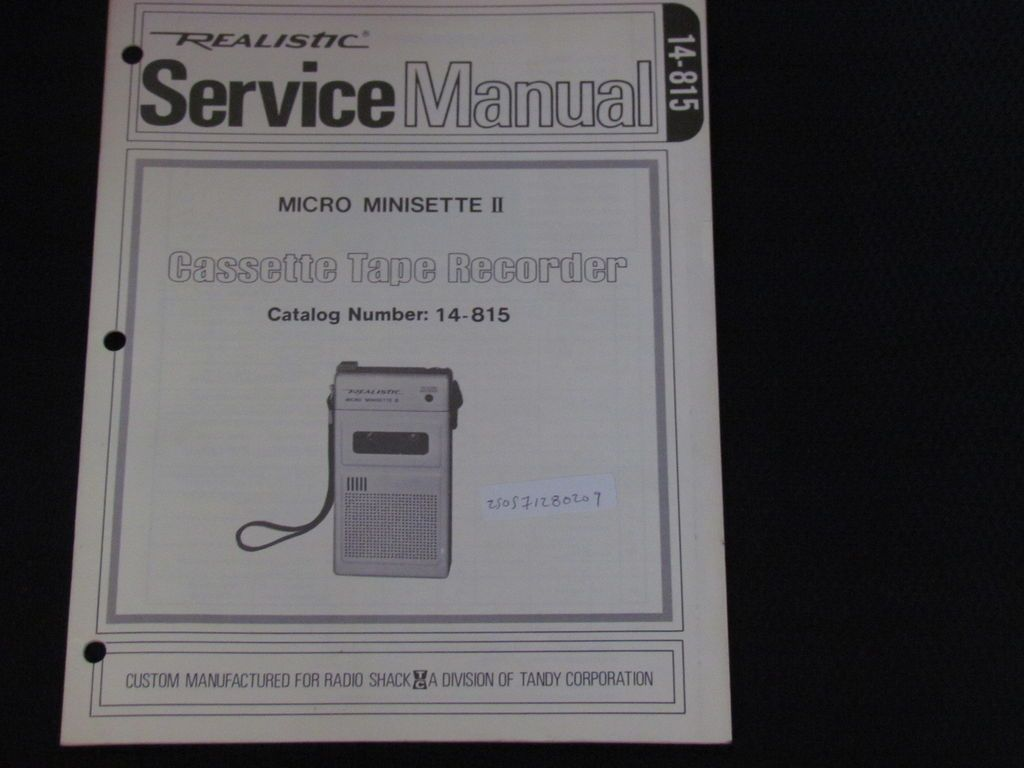REALISTIC MICRO MINISETTE II CASSETTE TAPE RECORDER SERVICE MANUAL