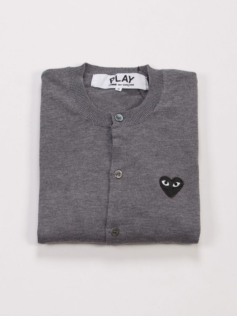 Comme des Garcons Play CDG Gray Cardigan Black Heart For Women