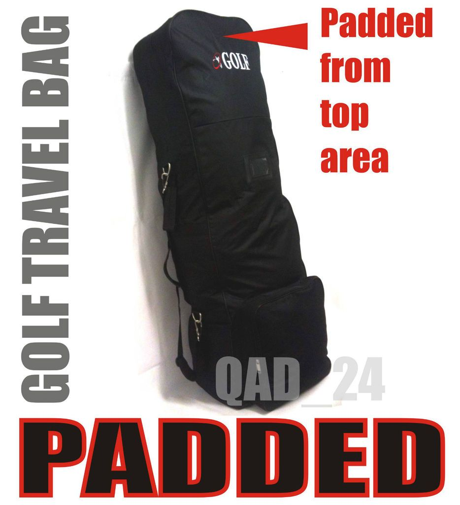 PADDED HEAD GOLF BAG FLIGHT TRAVEL CASE COVER WITH WHEELS HOLDALL