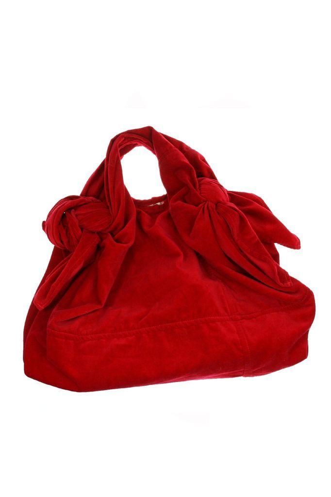 Vintage Comme des Garcons Handbag Hobo Hand Bag Satchel in Red Velvet