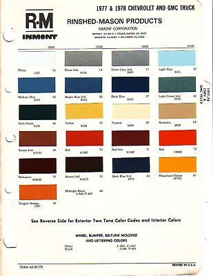 1977 1978 CHEVROLET GMC TRUCK AND VAN PAINT CHIPS R M