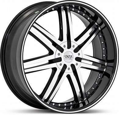 24 x9 5 Status Game S805 Black Machined Wheels Rims