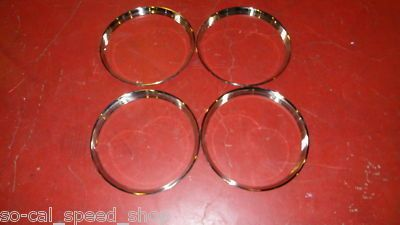 VTG STYLE 15 RIBBED BEAUTY TRIM RING SET FITS EARLY FORD CAR TRUCK RAT