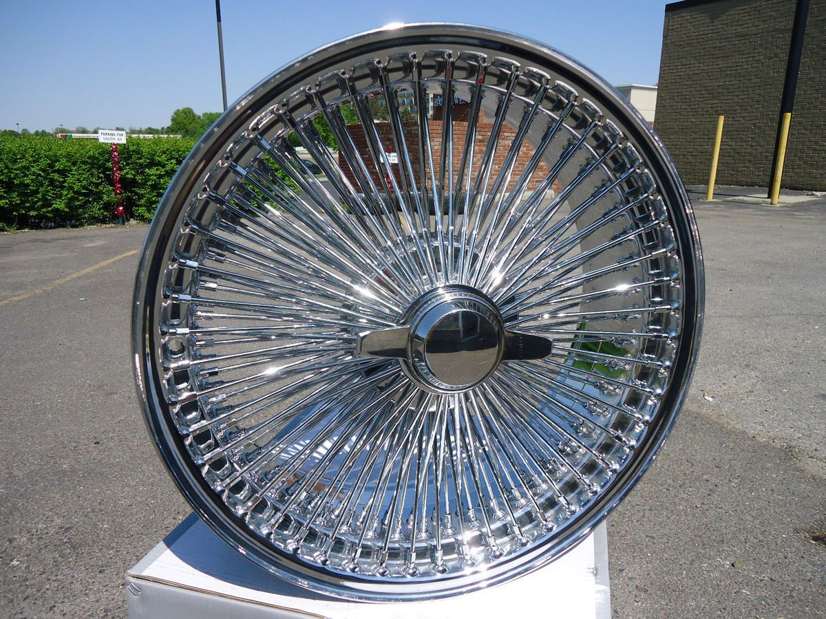 DAYTON CHROME 17x8 Wire Wheels Full Set Rims NEW KNOCKOFF 100 spoke