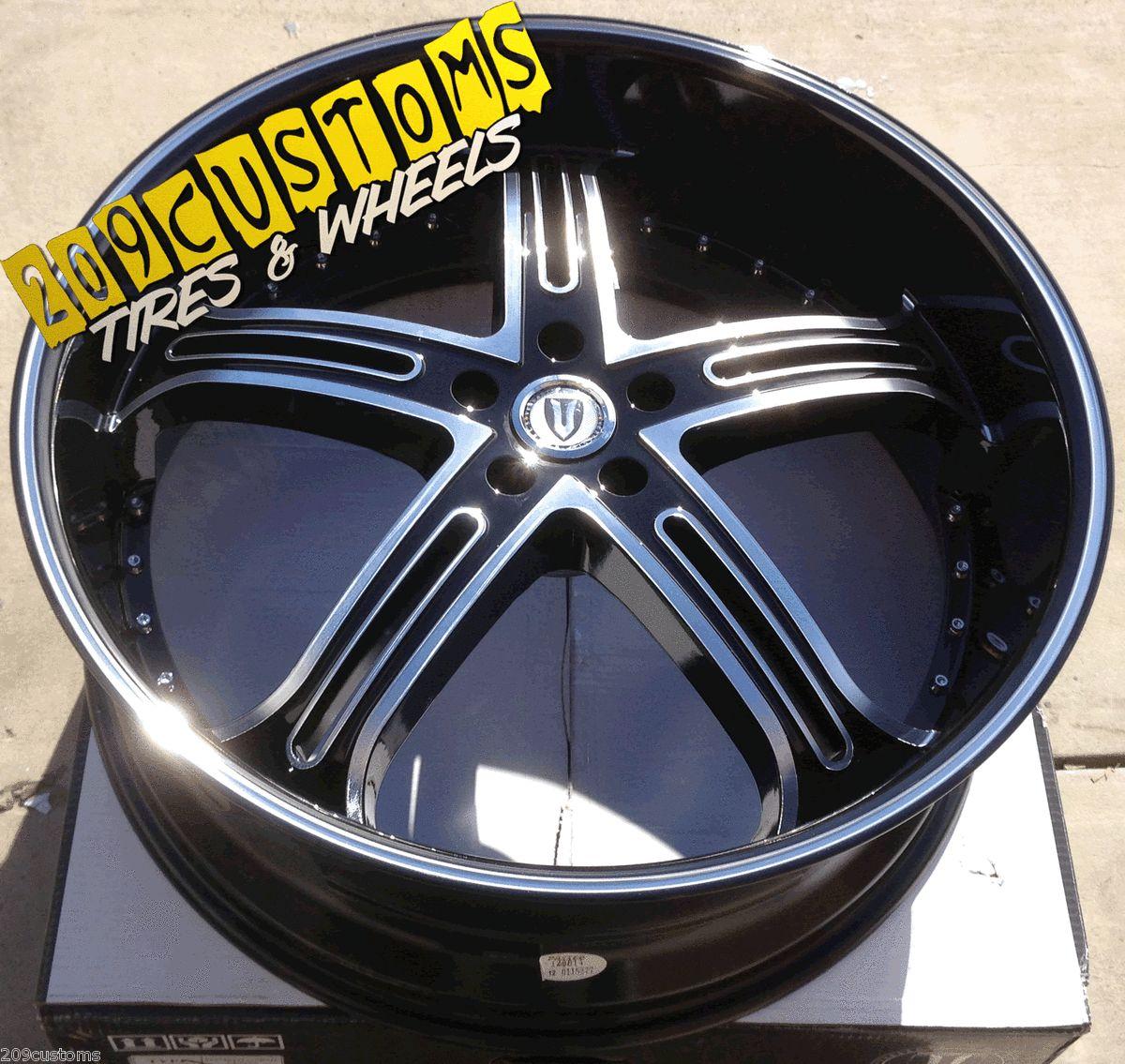 22 inch Versante Rims Wheels Tires VW226 Black Monte Carlo 2000 2001