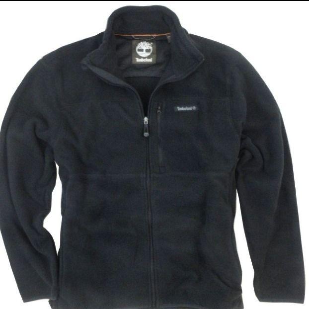 New Timberland Mens Full Zip Polar Fleece Jacket Coat Black x Large